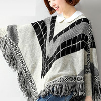 Light Gray Women Pullover Batwing Patterned Poncho Sweater