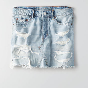 AEO Vintage Hi-Rise Denim Skirt, Blue