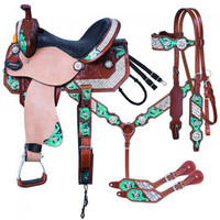Saddles Tack Horse Supplies - ChickSaddlery.com Silver Royal Ashton 5 Piece Barrel Saddle Set <>