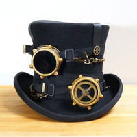 Steampunk Hat Steam Punk Vintage  wool Gear fedoras hat millinery goggles hand made