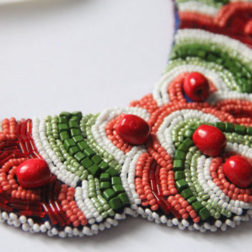 Ethno Ukrainian beaded embroidery necklace , Kolisnyk Bijou, Beadwork , national ukrainian necklace