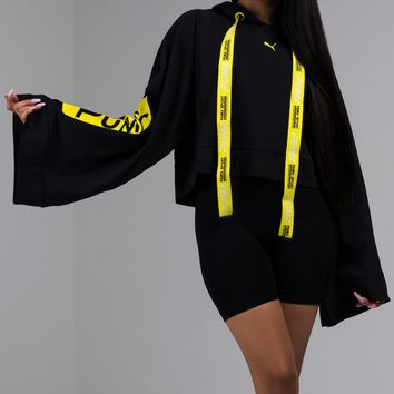 Cropped Athletic Hoodie with Flared Sleeves in Black