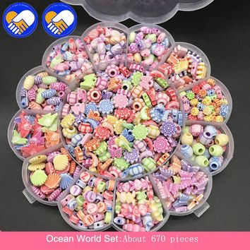 A TOY A DREAM 670pcs Ocean World Beads Colorful Sticky Perler Beads Pegboard Set Fuse Beads Jigsaw Water Beads Bond Toy Puzzle