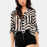 Mixing Up Stripes Top - Black/White