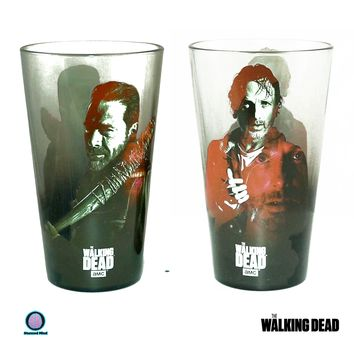 2-Pack 16oz OFFICIAL AMC The Walking Dead Neegan and Rick Grime Pint Glass Multi-color Novelty GIFT SET Pack of 2 Pint Glasses