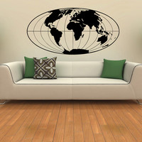 World Map Wall Decal Geographical World Globe Vinyl Design Travel Geography Gift Living Room Office Bedroom Home Decor Wall Art Sticker 0034