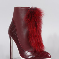 Privileged Crocodile Pointy Toe Faux Fur Stiletto Booties
