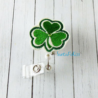 Shamrock ID Embroidered Felt ID Badge Holder with Retractable Badge Reel handmade by SantaFeKiss