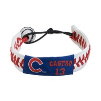GameWear Chicago Cubs Starlin Castro Leather Baseball Bracelet