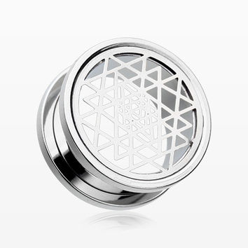 A Pair of Sri Yantra Prism Steel Screw-Fit Tunnel Plug