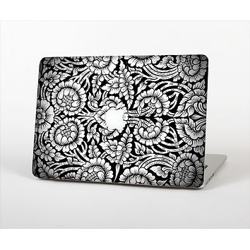 "The Black & White Mirrored Floral Pattern V2 Skin Set for the Apple MacBook Pro 15"" with Retina Display"