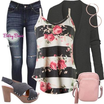 (pre-order) Set 276: Charcoal Striped Floral Tank (incl. tank, cardy & earrings)