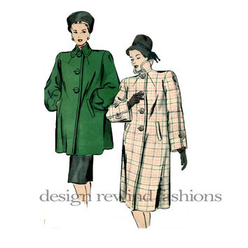 40s SWAGGER COAT PATTERN Lantern Sleeves, Deep Turn Down Collar Coat Bust 38 Hollywood Patterns 1940 Women's UnCUT Vintage Sewing Patterns