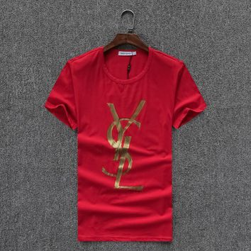 YSL Women Man Fashion Print Sport Shirt Top Tee