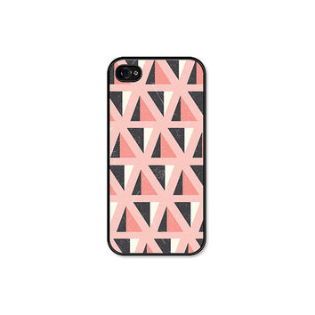 Peach Geometric Apple iPhone 4 Case - Mountain Pattern Plastic iPhone 4 Skin - iPhone 4 Cover - Coral Peach Pink Pastel Cell Phone