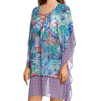 Tommy Bahama Palm Party Lace Up Coverup Tunic | Dillard's