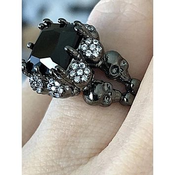 SALE  A Museum Perfect Black 5.11CT Round Cut Russian Lab Diamond Skull & Crossbones Ring