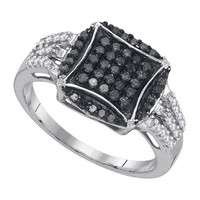 Black Diamond Fashion Ring in 10k White Gold 0.45 ctw