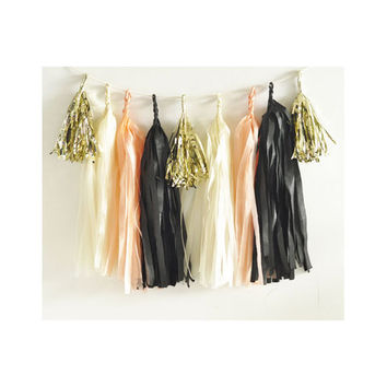 Paper Garland & Metallic Mini Tassels - 20 Tassel DIY Kit - Peach Black Ivory Gold Foil - Wedding Decor Party Bridal Shower Baby Birthday