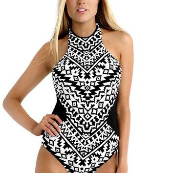 B| Chicloth Hot Sale Halter Print One Piece Swimsuit