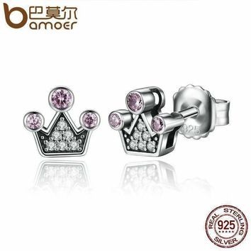 BAMOER Genuine 100% 925 Sterling Silver Pink Crystals Queen Crown Mountain Stud Earrings Women Fashion Jewelry SCE026-1L