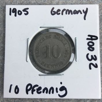 1905 German Empire 10 Pfennig Coin A0032