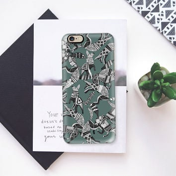 woodland fox party juniper gray iPhone 6s case by Sharon Turner | Casetify