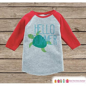 Hello Summer Turtle Onepiece or Raglan - Summer Outfit For Kids - Red Baseball Tee or Onepiece - Fun Summer Outfit for Baby, Youth, Toddler