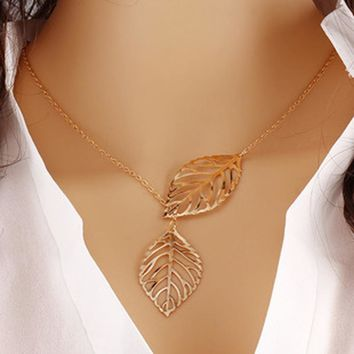 New American jewelry metal leaf Necklace Pendant Chain double leaves clavicle short female aliexpress explosion accessories