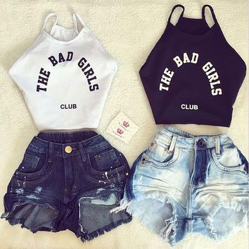 Sleeveless crop tank top with wording options