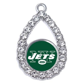 Personalized rhinestone inlay drop shape New York jets logo pendant FIT football sports jewelry accessories