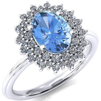 Eridanus Oval Aqua Blue Spinel 4 Prong Diamond Cluster Halo Engagement Ring
