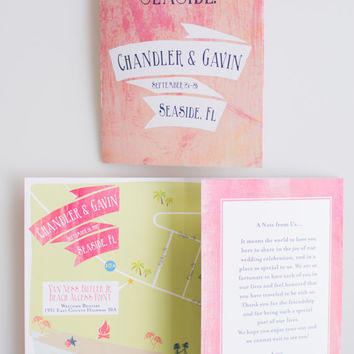 Custom Wedding Map with Itinerary, Wedding Invitation, Save the Date (Tri-Fold) -- Seaside, FL (Beach Theme)