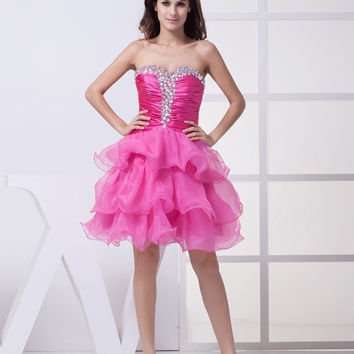 Short Homecoming Dresses Elegant Girl Women Crystal Ball Gown Knee-length Party Dress Tiered 2016