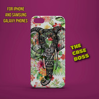 ELEPHANTS FLORAL JUNGLE Design Custom Phone Case for iPhone 6 6 Plus iPhone 5 5s 5c iphone 4 4s Samsung Galaxy S3 S4 S5 Note3 Note4 Fast!