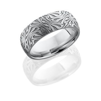 Cobalt Chrome 8mm Wide Laser Carved Escher Pattern Wedding Band