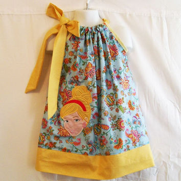 Blue Floral Girls Pillowcase Appliqued Dress, Embroidered Dress, Circles Little Girls Dress,  Gift for Girls, Made in the USA, #100