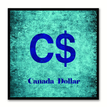 Canada Dollar Money Currency Aqua Canvas Print with Black Picture Frame Home Decor Wall Art Collection Gifts