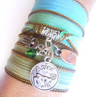 Astrologic Zodiac Jewelry Aries Silk wrap bracelet Sign jewelry Hamsa Spiritual Boemian jewelry Unique Birthday Unique gift for her under 30