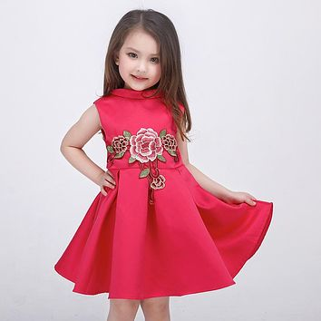 Fashion Girl's Dresses for Flower pattern girl Party princess Dress Costumes baby Girl embroidered flower dress