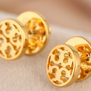 Tory burch fashion circular rose gold hollow-out letter logo ear nail earrings jewelry