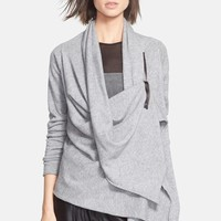 Women's autumn cashmere Draped Front Zip Sweater