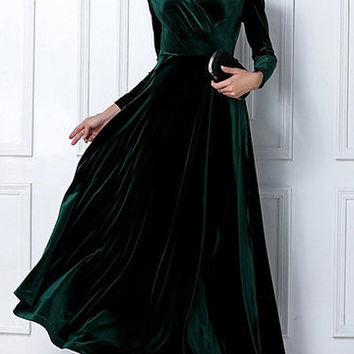 Green Velvet Wrap Front Long Sleeve Maxi Dress