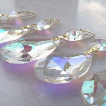 5 Iridescent Teardrop Chandelier Crystal Ornaments Shabby Cottage Chic