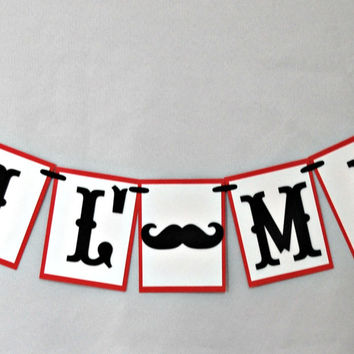 Mustache Themed Party Lil' Man Banner