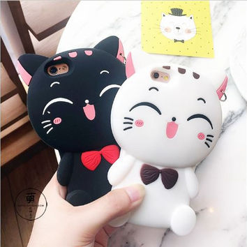 3D cute cartoon black & white cat soft silicone case mobile phone back cover for iphone 5 5s 6 6s 7