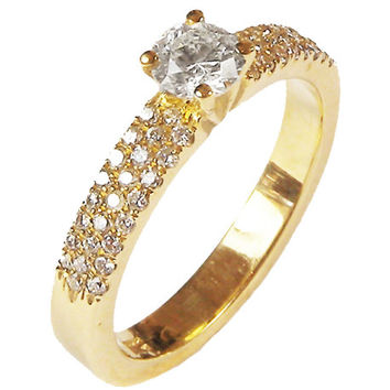 Diamond Engagement, Ring, Pave, Yellow Gold, 3 Row, Certificate