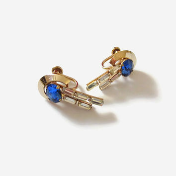 Van Dell Blue Drop Earrings, Vintage Blue Oval & Clear Baguette Rhinestone Cascades, 12kt Gold Filled, Lovely!