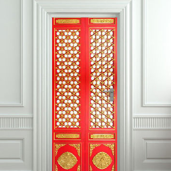 "Door STICKER asian door ornamental pattern design mural decole film self-adhesive poster 30""x79""(77x200 cm)"