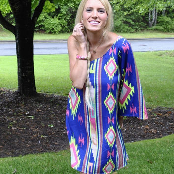 Not a Care in the World One Shoulder Aztec Dress - Blue